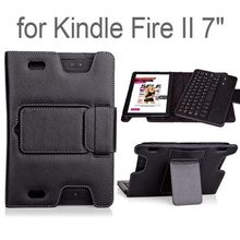 Litchi Texture Detachable Bluetooth Keyboard Flip Stand Leather Case for Amazon Kindle Fire HD 7 II