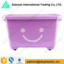 colorful interlock plastic storage box with lid and wheels