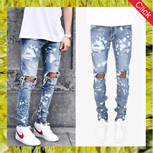 Fashion slim destroyed zipped ankle jeans for men blue skinny splash stretch denim jeans wholesale cheap price
