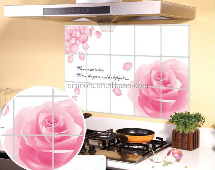 Pink rose flower reusable adhesive letter oil/water/hot proof kitchen wall decal sticker aluminum foil paper tiles