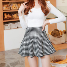 Fashion All-match Limited Special Offer Womens School Girls Mini Skirt Wool Knit Skirts Red Black Plaid Skirt