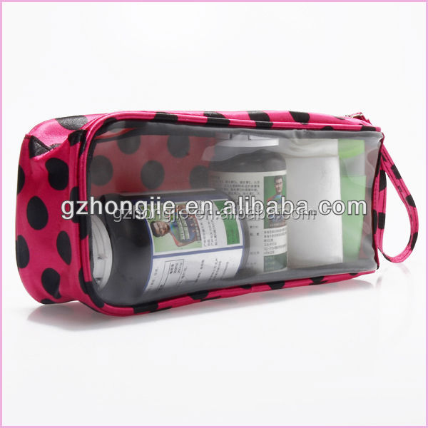 long rose round dot travel toilet bag transparent cosmetic bag