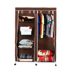Simple assembled iron tubes cabinet Non-woven folding wardrobe with wheel Portable bedroom furniture