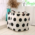 Foldable Cotton Fabric Laundry Hamper Bucket Storage Cube Bin With Handles