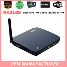 Best Android TV Box RK3188 Quad Core Mini PC 1.8GHz 2G/16G WiFi HDMI USB RJ45 OTG SD Card Optical XBMC Smart TV Receiver