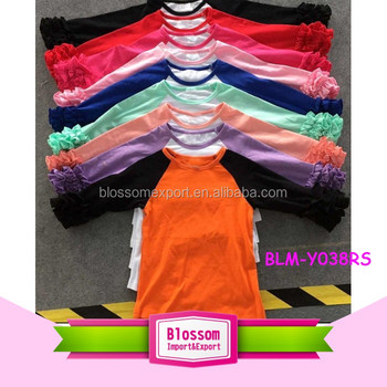Wholesale Baby Ruffle Sleeve Raglan Shirts tee Kids custom cheap o-neck 3/4 black sleeves orange body girls blank icing raglan