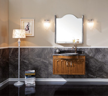 Single Basin Brown Bath Vanity with Natural Marble Top