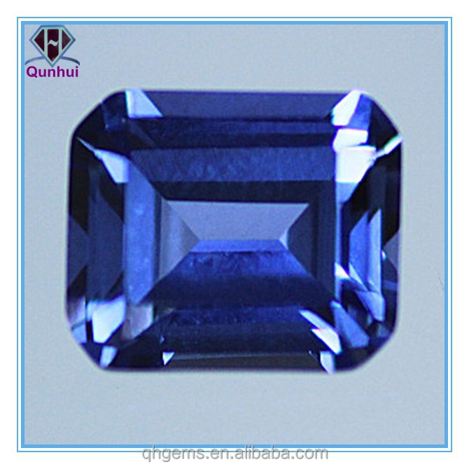Lab created blue sapphire emerald cut loose cz stone