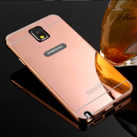 New Luxury Metal Bumper Case Shockproof Plating Mirror Back Cover for Samsung Galaxy Note 3 N9000 Metal Case Free Shipping