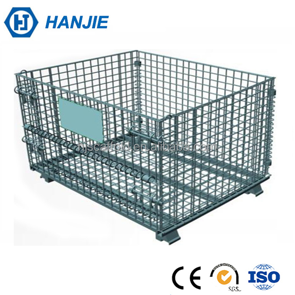 Industrial warehouse mesh box wire cage metal bin storage container