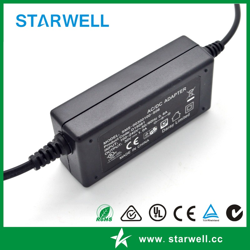 SW-00180167-S10 18V 1.67A 30W Desktop type power adapter with DC cable