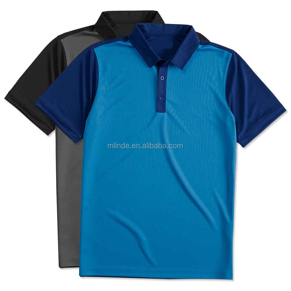 Latest Blue Polo Shirt Designs Golf Dri-FIT Colorblock Performance Polo 100% Polyester Microfiber Polo Shirt For Men