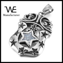Stainless Steel CZ Silver Cross Pentagram Letter Logo Army Shield Pendant
