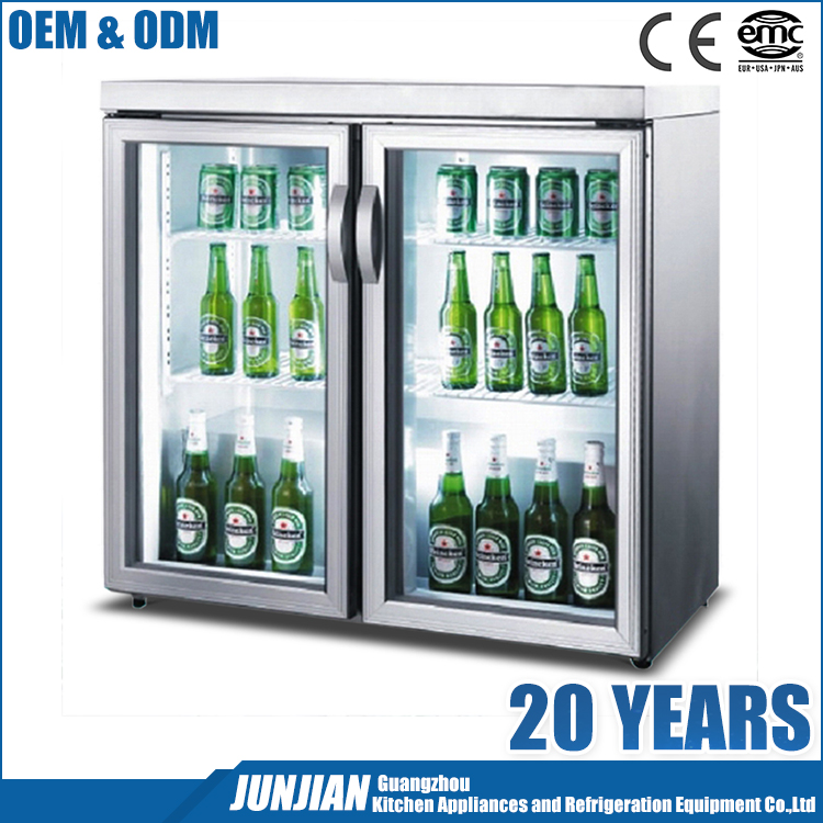 Cheap promotional prices custom wine beer double door display fridge