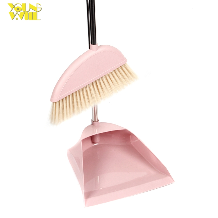Soft mini plastic dustpan and broom brush set with head