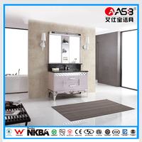 Free Standing Purple Color Stainless Steel Frame Bathroom Cabinet Modern Furniture