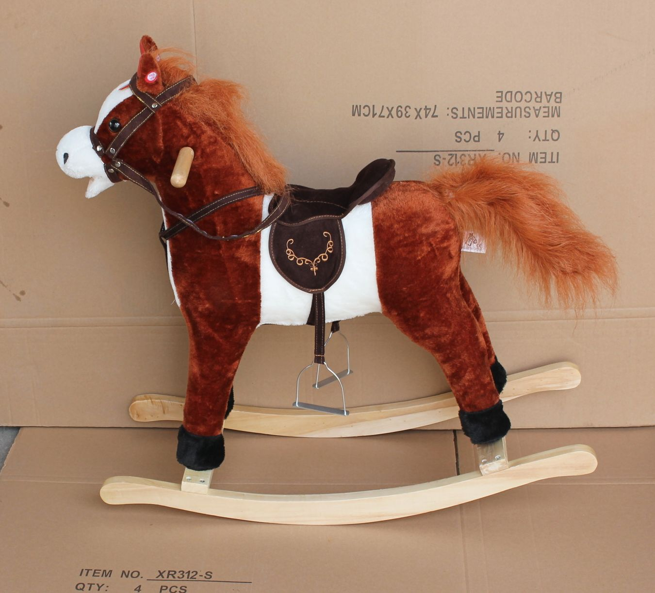 78x28x68cm promotional customized children brown/white plush rocking horse toy with dark brown saddle&wooden base