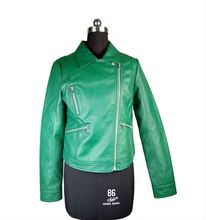Factory Directly Sale Green Color Woman Used Motorcycle PU Leather Jackets Clothing