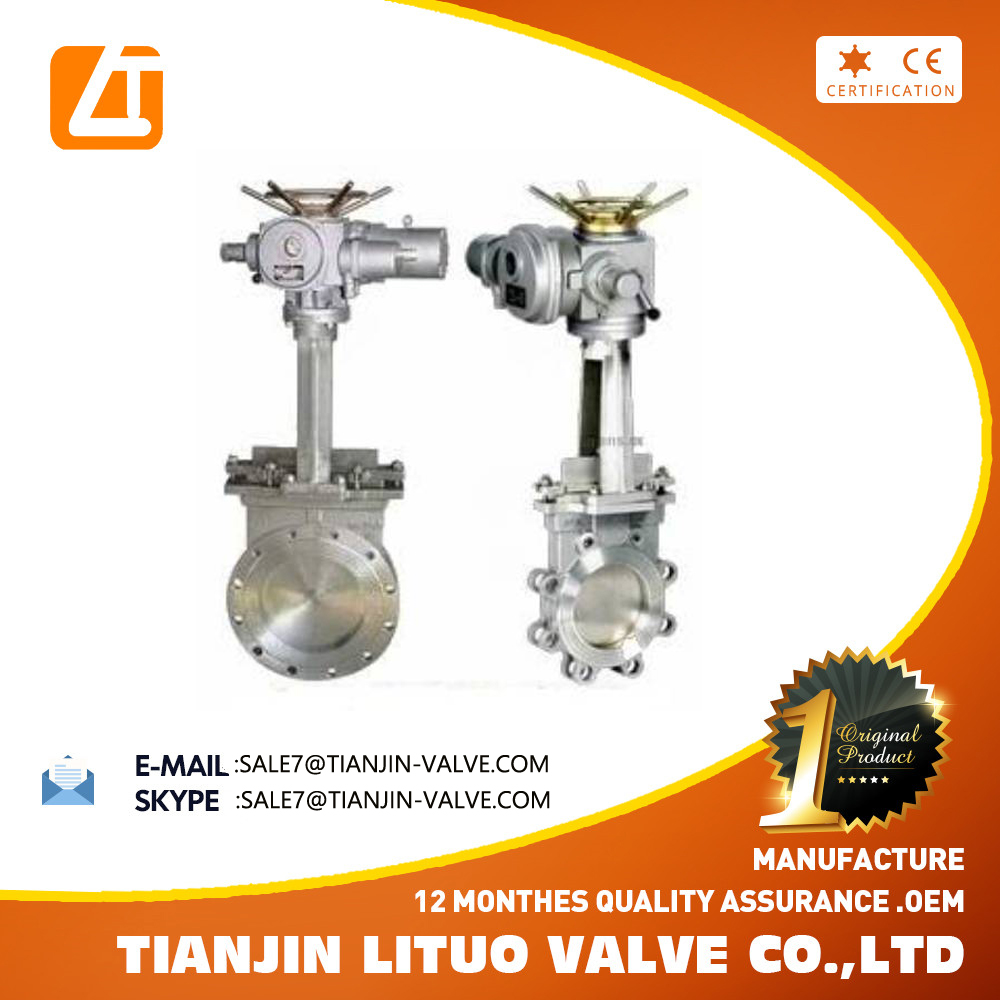 Stainless steel Cast Iron High Quality Electric Wafer/Lug Knife Gate Valve