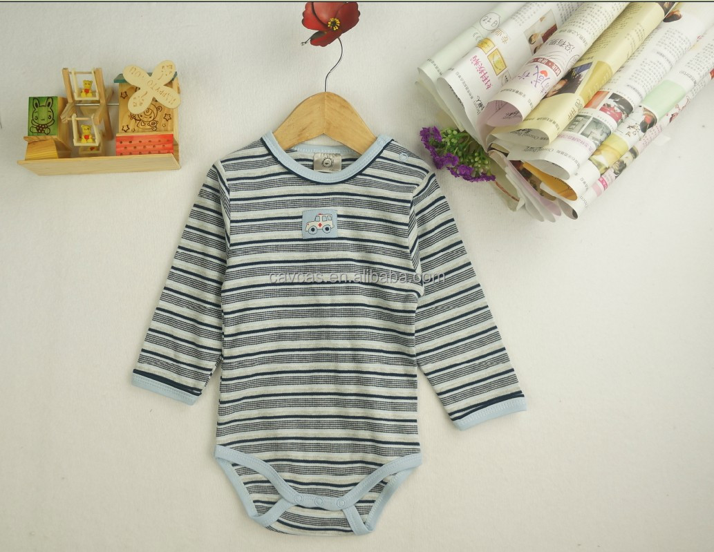 100% cotton baby creeper with yarn dye stripes