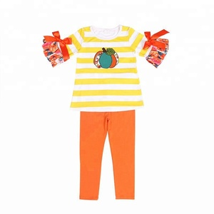 Stripe Pumpkin Kids Boutique Clothing Girls Halloween Outfit