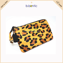 Leopard grain genuine leather purse human wallet for ladies