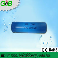 ICR17500 3.7v 1100mah rechargeable cylindrical li-ion battery
