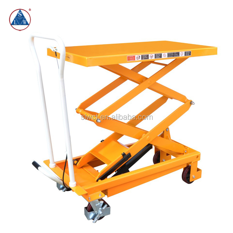 top sell portable hydraulic motorcycle double scissor 500kgs hand lift table small portable table
