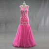 Sexy Pink Color Heavy Beaded Mermaid Tail Pattern Tulle Prom Dresses 2017