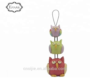 Decoration resin round fat three birds hanging crafts