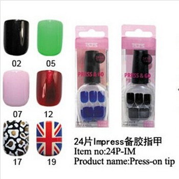 Fashion Pre-glued full cover tips acrylic Im-press nail tips