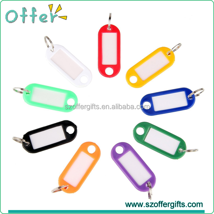 Random Assorted Color Key ID Label Tags Split Ring Keyring Keychain
