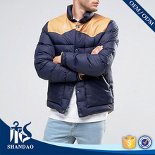 Guangzhou Mens Warm Winter Puff Joint Shoulder Faux Leather Snap Button Big Pocket Good Quality OEM Goose Down Jacket