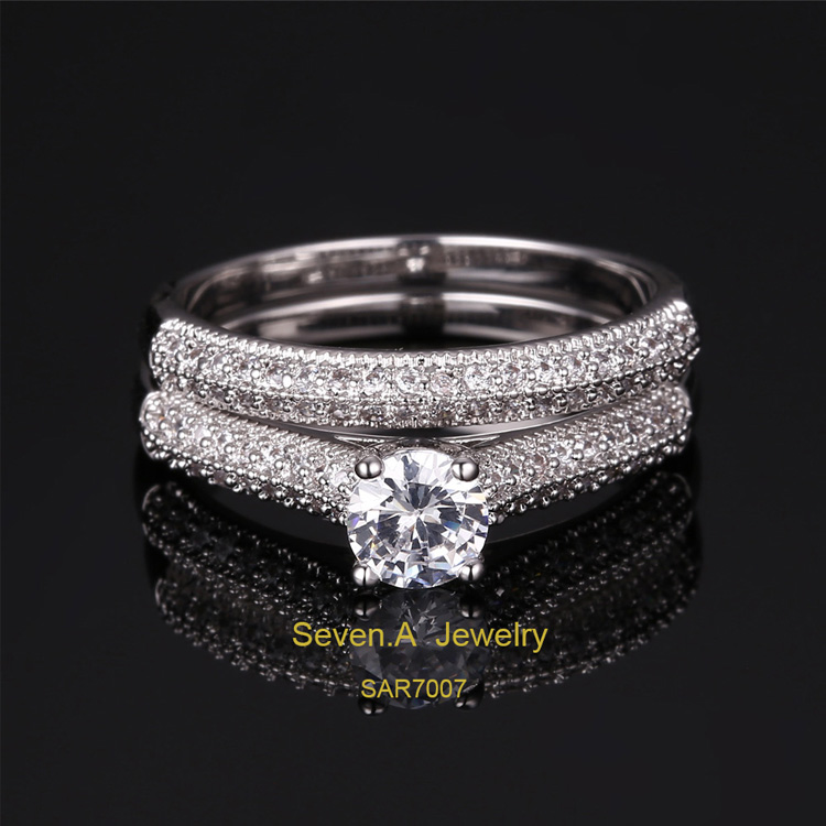 SAR7007 China Wholesale Platinum Plated Wedding Ring Jewelry Sets