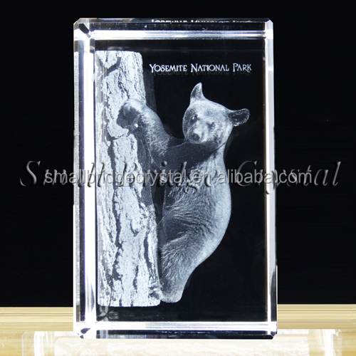 Engraving bears animals 3d laser etched crystal cube