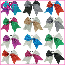 Wholesale Cheerleading Hair Bow, 7 inch Double Colors Glitter Leather Cheer Hair Bows for Decoration