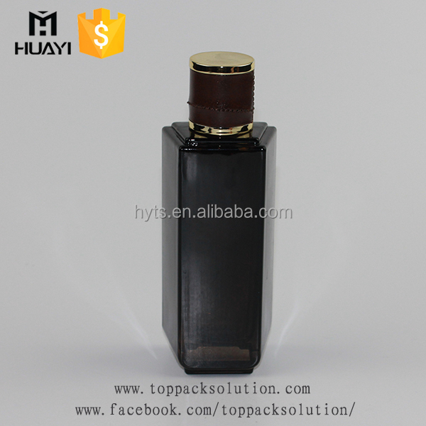 transparent leather cap personalized black bottle mens perfume with sprayer