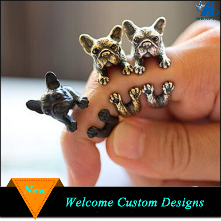 Jewelry Manufacturer Cheap Unisex Wrap French Bulldog Ring Animal Dog Ring