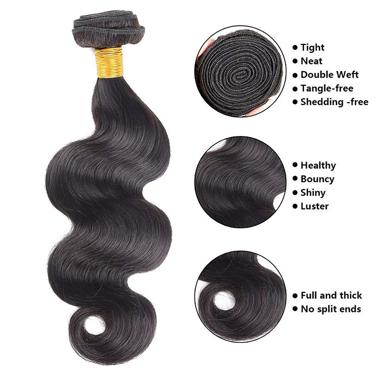 Brazilian body wave hair extension human hair weave bundles closure