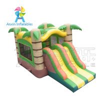 2018 Hot Sale Commercial Inflatable Jumping Bouncer, Tropical Bouncy Castle With Slide