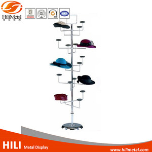 Wire hanging hat cap display rack spinner revolving stand