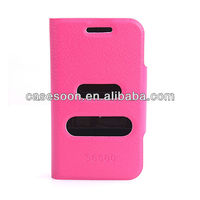 Mobile Phone Lychee PU Leather case for SAMSUNG GALAXY MINI 2 S6500 With Stand with caller ID display function
