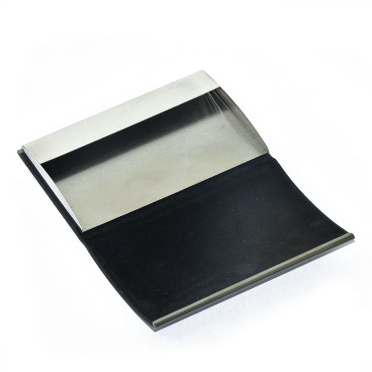 Wholesale pocket pu mix aluminum business card case+leather business card holder case with custom logo