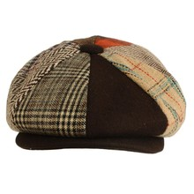 Splicing Panels Driver Plaids Wool Herringbone Newsboy Cabbie Gatsby Hat