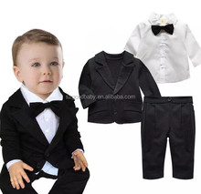 black white formal cotton fabric baby baby suits baby boy tuxedo