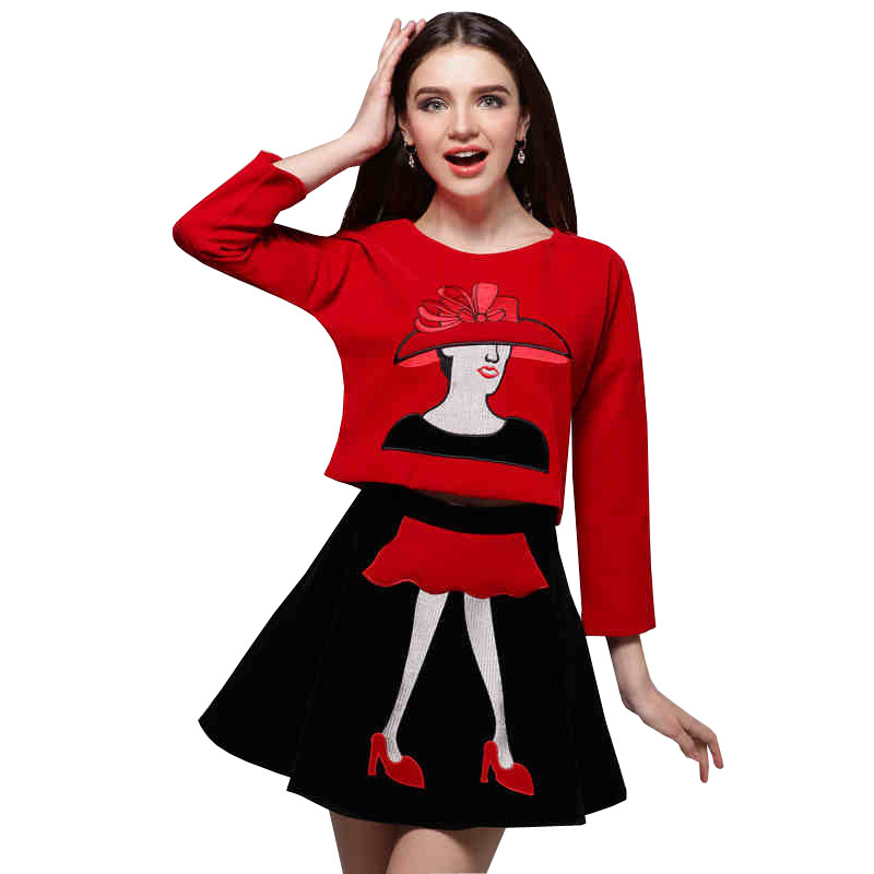 2015 Autumn New Women Clothing Set Europe and America Fashion Print 2 Piece Set Women Shirt + Skirt Casual women Set Clothing
