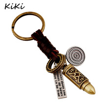 >>>Vintage Genuine Leather keychain Man Punk Alloy Bullet Pendant Keyring For Women Creative Accessories