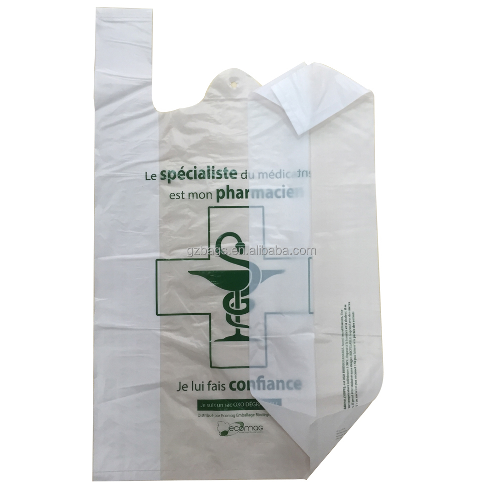 100% OXO Biodegradable t-shirt handle Grocery hdpe plastic carry bags