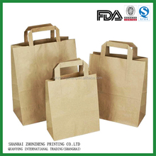100gsm Plain brown Kraft paper grocery bags with flat handle
