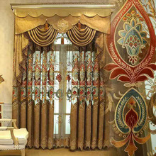 2016 Hot Sale Flame Retardent Luxury Fold Curtain Styles for Dubai